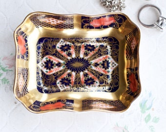 Porcelain Ring Dish - Gold Cobalt blue and Red Floral - Small Trinket Dish - Royal Crown Derby English Bone China