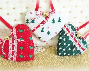 "Christmas Heart Ornaments Set of 3 Ornaments Red and Green Print Hearts 3"" each, Handmade Hearts CharlotteStyle Decorative Folk Art"