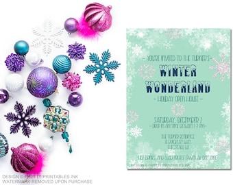 Christmas party invitation printable, snowflake invitation, holiday party invite, holiday open house, snowflake invite, winter wonderland