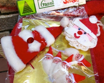 Vintage Santa felt ornaments decoration Christmas kitsch decor package trim retro Holiday tree gift trimmings 1960's Japan