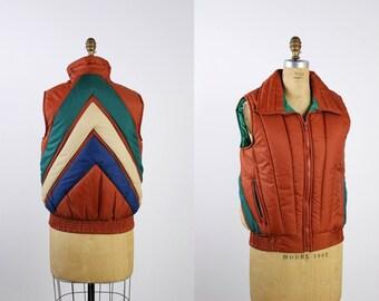 70s Chevron Puffy Vest / Orange Vest / Unisex / Alpine Sky / Puff Vest / 70s Vest / 1970s / Striped Down Ski Vest / Size S/M