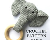 Crochet PATTERN ONLY - Grey Crochet Elephant Teething Ring / Wood Teether Toy