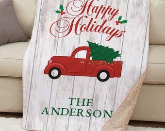 Happy Holidays Truck Personalized Sherpa Blanket, indoor, home, soft, warm, gift, christmas, holiday season, christmas decor -gfyU1204287