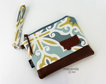 Flat Clutch Large Scrollwork Yellow with MT Patch PU Leather READY to SHIp