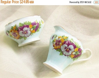 ON SALE Blue China Cream Sugar Bowl Purple Pansy Aynsely England Cottage Chic