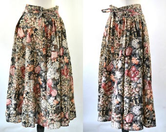 1980s Dark Muted Neutral Colored Floral Print Wrap Skirt, Adjustable Waist Skirt