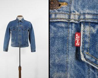 Vintage 80s Levi's Denim Jacket Faded Red Tab 4 Pocket Made in USA - Size Medium