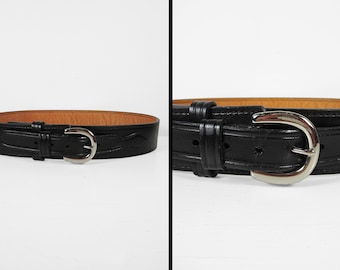Vintage Leather Police Belt Black Harness Don Hume Brass Buckle Miami Oklahoma - Size 38