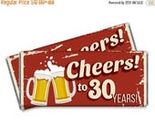 15% OFF - Set of 12 - Cheers to 30 Years Candy Bar Wrappers - 30th, 40th, 50th, 60th - Any Age Adult Party Favors