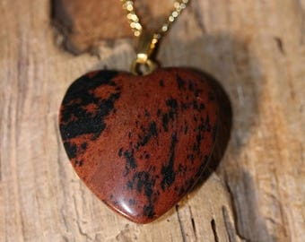 Spring Into Summer Sale- Mahogany Obsidian Heart Necklace - Item 1560