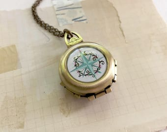Always Know Your True Path - Compass Locket, Folding Vintage Inspired Original Art Pendant, Graduation Gift Idea