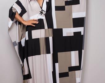 Kaftan Dress, Maxi Dress, Long boho dress, Black dress, Summer dress, Black and white dress, kaftan : Funky Elegant Collection No.1p