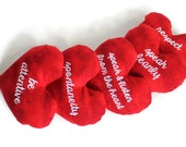 CUSTOM Large Red Heart Shaped Bean Bags with custom embroidery (set of 5)