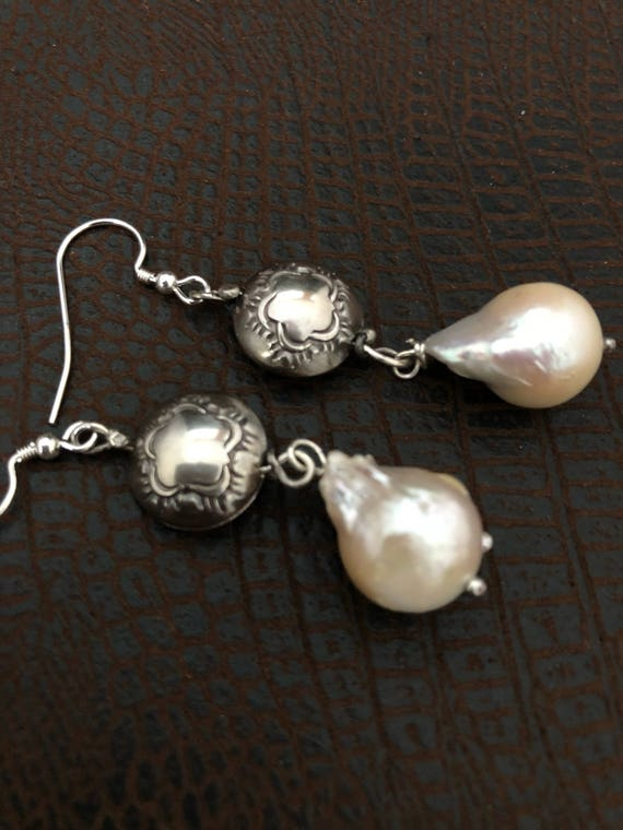 Handmade Sterling Silver, Baroque Pearl Earrings, Dangle Earrings, Southwestern Jewelry, Boho Chic