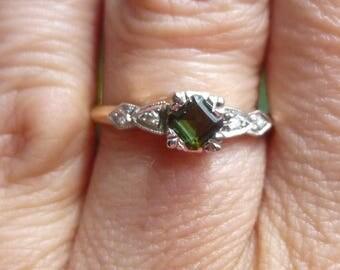 Art Deco Engagment Ring  Platinum  and yellow gold..... Green Tourmaline and diamond....Ring