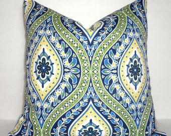 OUTDOOR Navy Yellow Green Blue White Diamond Floral Pattern Porch Pillow Cover Patio Decor Size 18x18