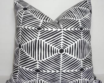 Black White Heni Geometric Lines Modern Couch Throw Pillow Covers Choose Size