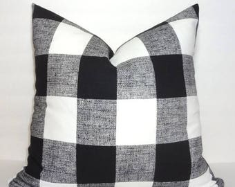 FALL is COMING SALE Large Buffalo Checked Black Plaid Pillow Covers Large Checked Black Plaid Pillow Covers Choose Size