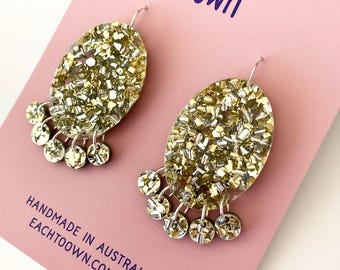 Lush Gold Glitter Oval Drops - Laser Cut Drops Earrings - Each To Own Original