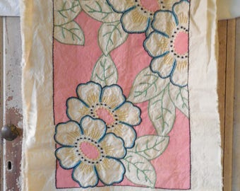 Vintage Textiles, 1930s Vogue No. 65 Pillow Kit, Natural Muslin, Vtg Vogue Floral Crewel Embroidery Pillow, Vtg Textiles, To Be Completed...
