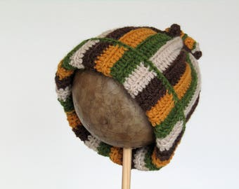 Stripey woolly hat - child - age 5 years and above -  chunky, green, mustard, brown, cream - earth tones - wool and alpaca - natural fibres