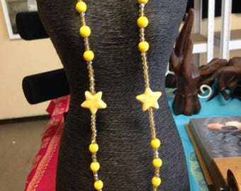 Yellow Star Howlite Necklace