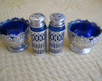 Raimond Blue Glass and Silver Plated Salt and Pepper Shaker and Two Salt Cellars