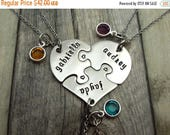 Heart puzzle piece necklaces, set of 3, best friends, sisters, gift with birthstones