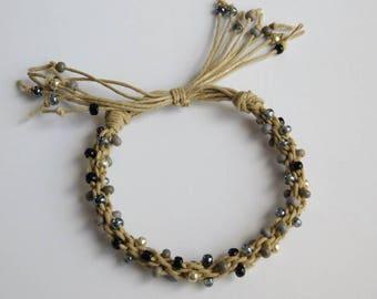 Kumihimo Beaded Bracelet, braided hemp bracelet
