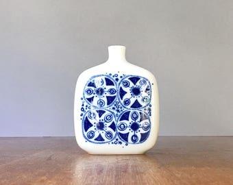Mid Century Scandinavian Modern Porsgrund Norway Vase Cobalt Blue Mod Floral Decor