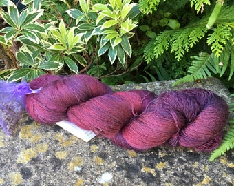 "100grms hand painted silk / merino  lace weight yarn."" Ruby red """