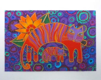 Cats Birthday Card Postcard-MADE To ORDER-Mom Dad Child Friend Gift Frame Room Decor Thank You Housewarming 4x6 Fabric Postcard Laurel Burch