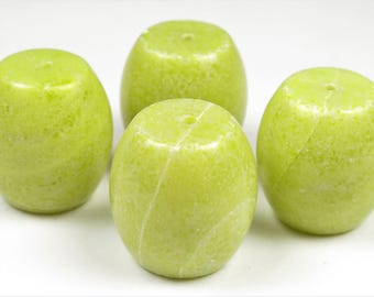 Lemon Jade Large Barrel Beads - 18mm x 18mm - 4 Pieces - B7306