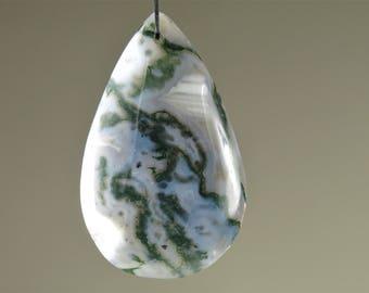 Moss Agate Teardrop Pear Pendant - 47mm x 29mm x 7mm - B7550