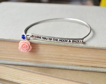 Love You to the Moon and Back Silver Wire Bangle with Pink Rose