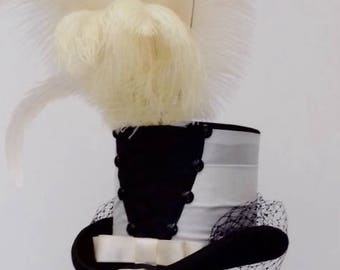 Black and Ivory Gothic burlesque wedding top hat