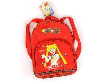 Vintage 1990's Rare Sailor Moon 1992 Red Plaid Vintage Japanese Backpack Purse NOS
