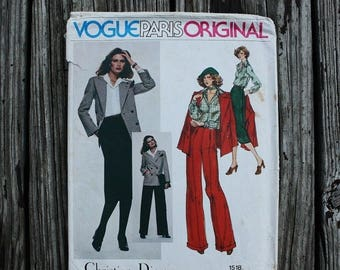25%off Sizzlin Summer Sal Vogue Paris Original Christian Dior 1518 1970s 70s Disco Era Pant Skirt Suit Double Breasted Jacket Vintage Sewing
