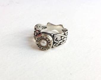 Sterling Bullet Ring, Bullet Jewelry, Heart Ring, Womens Bullet Ring, Ammo Ring, Silver Bullet Ring, Shell Casing Ring, Filigree Bullet Ring