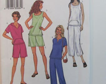 Butterick 3534 Fast & Easy Pullover Hoodie Tank Top, Pants and Short Pattern for Misses or Petite Unused 2002 Plus Sizes 20-22-24