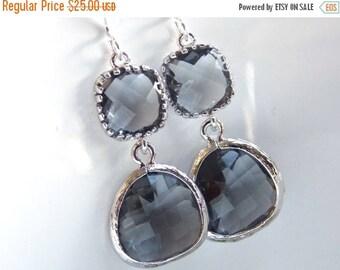 SALE Gray Earrings, Glass Earrings, Charcoal Earrings, Grey Silver Earrings, Bridesmaid Earrings, Bridal Jewelry, Bridesmaid Gifts