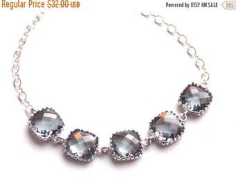 SALE Gray Bracelet, Grey Bracelet, Sterling Silver Bracelet, Charcoal, Wedding Jewelry, Bridal, Bridesmaids Bracelet, Bridesmaid Gifts