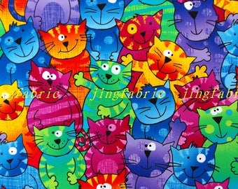 CZ009 - 108cmx100cm  Cotton Fabric - Lovely cats