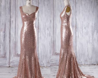 Bridesmaid Dress Rose Gold Long Evening Dress with Train,Open Back Bodycon Wedding Dress,Metallic Sleeveless Prom Dress Full Length(GQ159C)