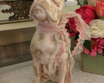 Adorable BOXER statue, distressed in white, choose pink or blue, add a name