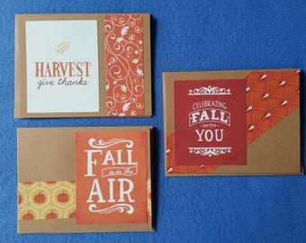 Three Fall Themed Handmade Cards - Recycled Kraft Paper Greeting Cards, Blank Cards, autumn card set - harvest give thanks