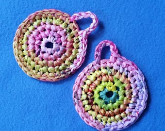 Two Pink and Yellow Multicolored Plarn Dish Scrubbies, recycled plastic bags, eco-friendly dish scrubby pot scrubber