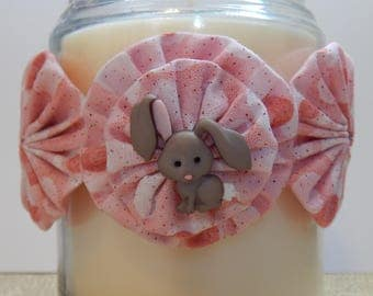 Yo Yo Candle Tie with Cherry Pink Sparkle Fabric and Grey Bunny with Floppy Ears
