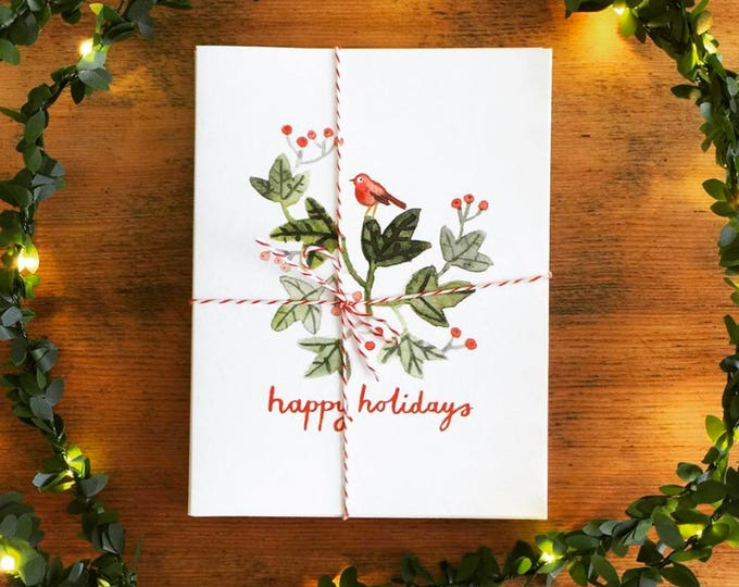 happy holidays robin greeting cards