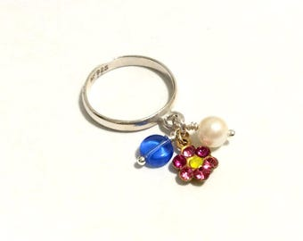 Sterling Silver Charm Dangle Ring - Tiny Swarovski Flower and Blue Bead
